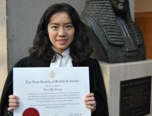 Claire Chang with her law degree