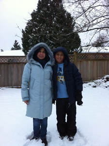 Geraldine and her son in the snow